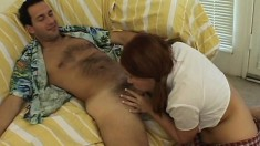 Voluptous young redhead gets dirty with her daddy's big hairy cock