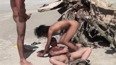 Elodie Reda On The Beach In A Threesome Getting Her Butt Banged