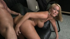 Busty Melanie Monroe sucks and fucks and gets a load in her mouth