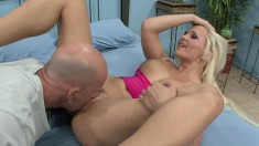 Lovely blonde with amazing footjob skills gets her pussy drilled deep