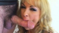 Buxom blonde mom Shayla plays with a dildo and then fucks a hard cock