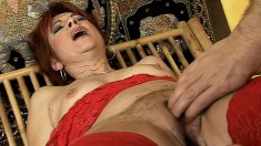 Redhead mature lady in stockings Dike relishes overwhelming pleasure