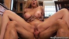Julia Ann is getting fucked all over her new kitchen breaking it in