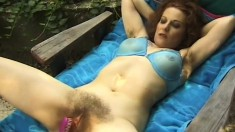Naughty housewife has a hung guy fingering and fucking her hairy slit