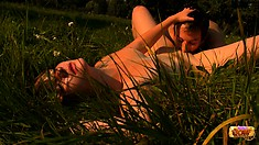 Aneta and Ales out in nature and he goes down on her love box