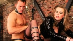 Busty Blonde In Latex Fucked During A Bdsm Session