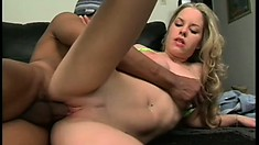 Hot blondie with great titties gets banged deep by a black cock