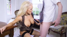 Mom handjob boss's associate in bed Having Her Way With A