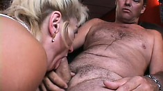 The kinky mature lady blows his shaft before he licks and fingers her fiery peach