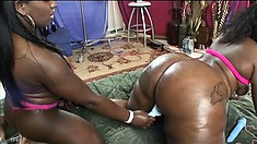 Thick ebony broads with fantastic asses get down to fuck hard