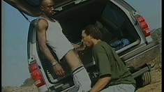 He picks up a hitchhiker and makes him pay with cock in mouth and ass