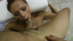 Rocco's got a hot babe blowing his rod and pops her wet cunny hole