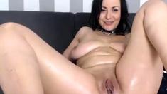 Brunette milf nina cardova uses huge dildo to masturbate