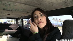Cute brunette gets in the van of love and doesn't know it yet