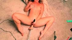 Small tit brunette banged on the floor