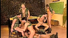 Horny group of soldiers formulate a plan to invade each others asses