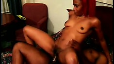 Punk ebony coed gets a black joint to eat and pound her tight cunny