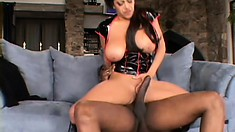 Big breasted Alexis Silver surrenders her needy cunt to a big black rod