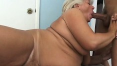 Chunky mature blonde has a hung black stud fulfilling her sexual needs